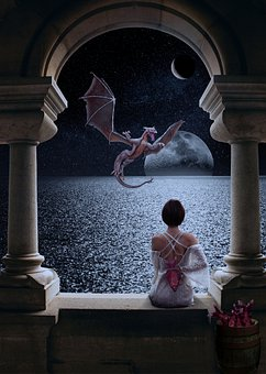 Fantasy, Dragon, Mythical, Moon, Moonrise, Stars, Night