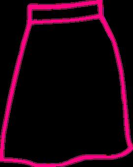 Skirt, Pink, Long, Outline, Skirt, Skirt