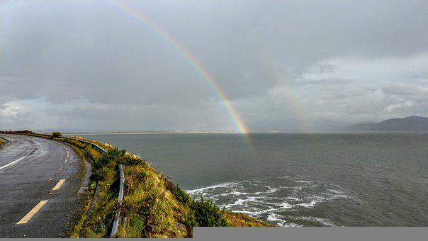 Ireland, Wide, Landscape, Hill, Scenic, Nature, Rainbow