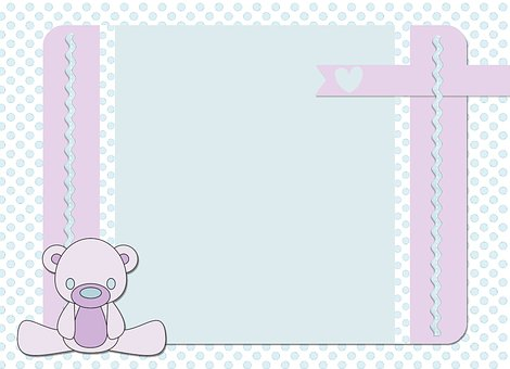 Map, Birth, Bear, Heart, Light Blue, Lilac