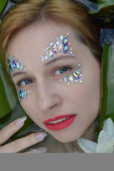 Portrait, Rhinestones, Tinsel, Makeup, River, Pond