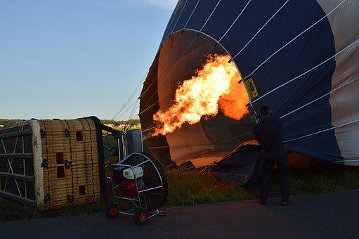 Hot Air Balloon, Drive, Burner, Fire, Shining