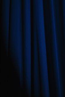 Curtain, Blue, Drapes, Texture, Decoration, Design