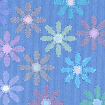 Flowers, Pattern, Blue, Stitches, Kraft Paper