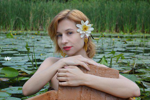 Lily, Lotus, Water Lily, Woman, Portrait
