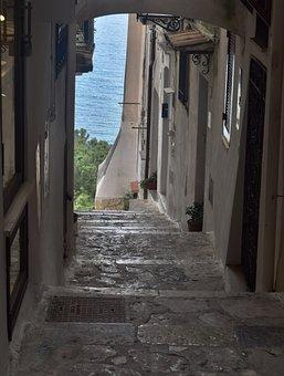 Lanes, Views, Sperlonga, Sea, Blue, Glimpse