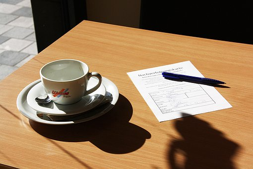 Cup, Table, Coffee, Corona Time, List, Form, Still Life