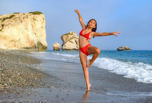 Girl, Beach, Sea, Woman, Bikini, Summer, Happy, Dancing
