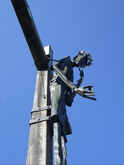 Cross, Sculpture, Christ, Fig, Iron, Art, Modern, Sky