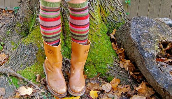 Fun Socks, Boots, Fall, Autumn, Nature, Fashion, Fun