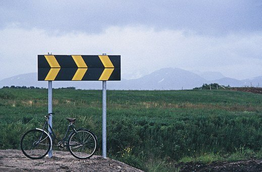 Norway, Curve, Bike, Traffic Sign, Road Sign, Shield