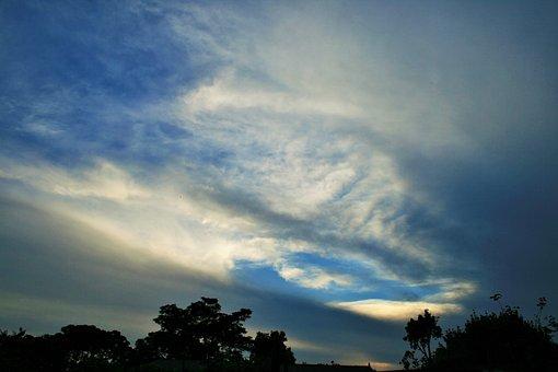 Sky, Blue, Clouds, Swept, Wispy, White