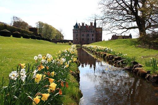 Fyn, Egeskov, Castle, Spring, Denmark