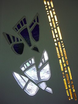 Baptismal Font, Glass, Mosaic, Dove, Ray Of Light