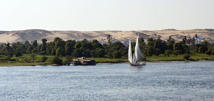 River Nile, Egypt, Sailboat, Dhow, Felucca, Sand Dunes