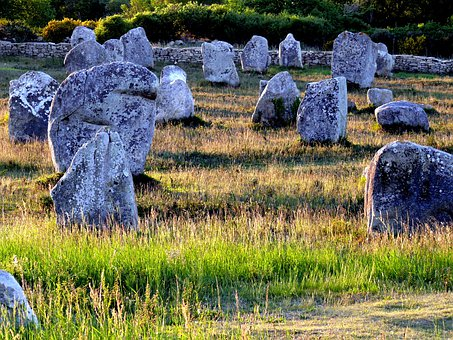 Menhirs, Carnac, Brittany, Evening, Megaliths