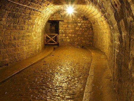 Fort De Douamont, Verdun, France, Tunnel, Stone, Light