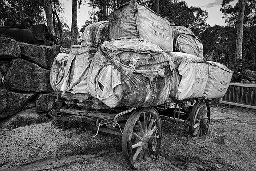 Wagon, Wool, Bales, Transport, Freight, Cart
