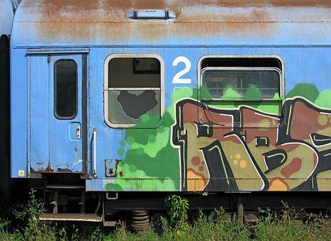 Train, Old Wagon Train, Graffiti, Wagon Cemetery