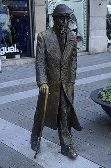 Umberto Saba, Poet, Statue, Senior, Stick, People