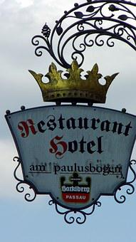 Restaurant, Shield, Pub, Passau, Advertising, Gasthof