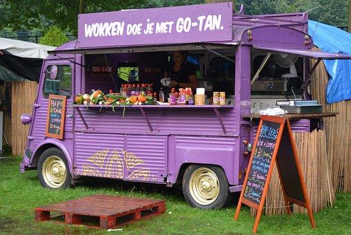 Food Truck, Power Supply, Car, Purple, Woks, Food