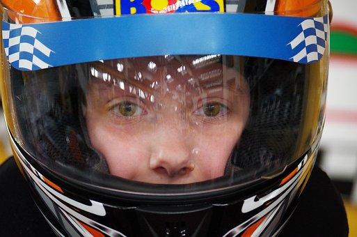 Go Karts, Race, Ride, Child, Helmet