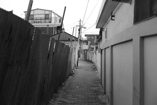 Alley, Jeonju, Republic Of Korea, Black And White