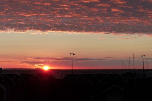 Sunset, Back Light, Red, Sky, Sea, Abendstimmung
