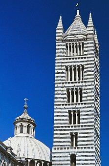 Siena, Italy, Dom, Duomo Nuovo, Campanile, Dome, Black