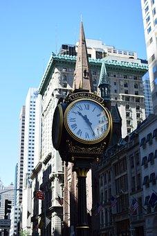 Clock, City, Architecture, Trump Bulding, New York