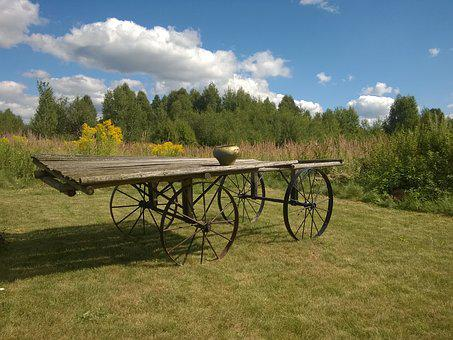 Cart, Village, Wagon, Subsistence Farming, Nature