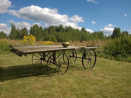 Cart, Village, Wagon, Subsistence Farming, Nature