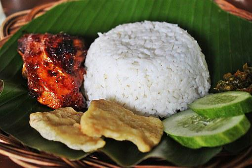 Grilled Chicken, White Rice, Indonesian Food, Condiment