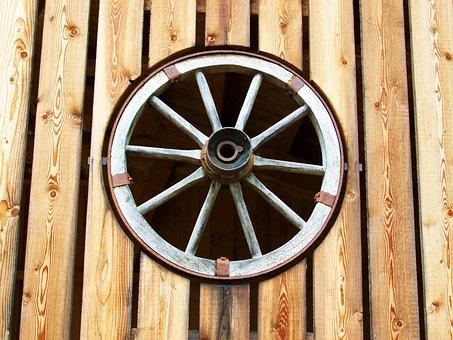 Old Wagon Wheel, Horse-drawn Carriage Wheel, Wood