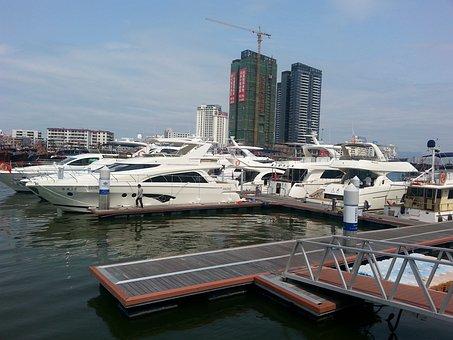 Yacht, Bay, Sanya, China