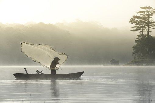 A Fisherman On Tuyen-Lam Lake, Fisherman