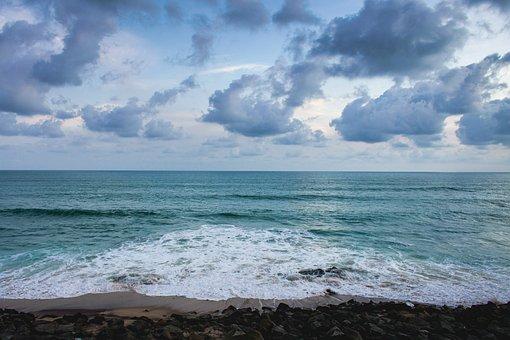 Clouds, Ocean, Beach, Blue Water, Floating Clouds
