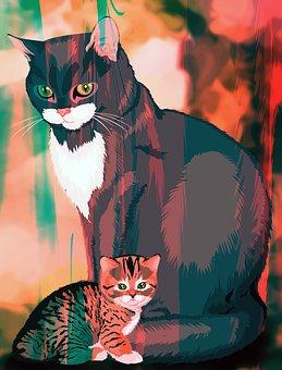 Cat Mother, Kitten, Family