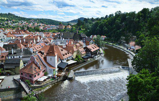 Český Krumlov, Krumlov, River, City, Old