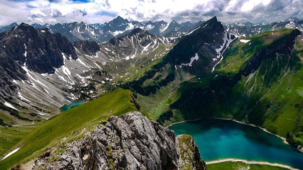 Mountains, Alpine, Allgäu, Green, Lake, Germany, High