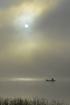 A Fisherman On Tuyen-lam Lake, Fisherman, Fishing, Lake