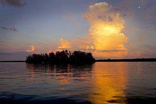 Island, Minnesota, Cloud, Sunset, Reflection, Landscape