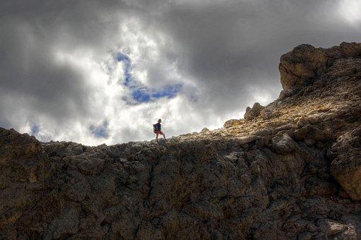 Mountain, Trekking, Alps, Hiker, The Rock Wall, Ascent