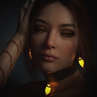 Portrait, Crystal, Woman, Pretty, Fantasy, Jewellery