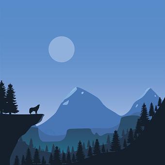 Flat Art, Winter, Wolf, Trees