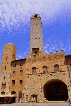 Torre, Palazzo, Piazza, Sky, Clouds, Architecture