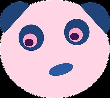 Bear, Blue, Panda, Animal, Face