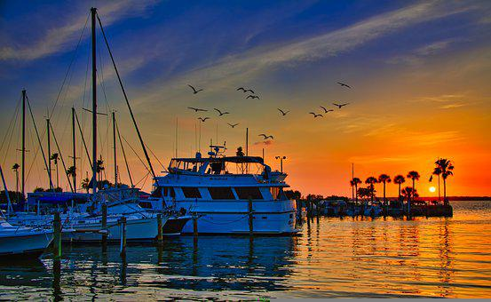 Dunedin, Boat, Sunset, Sky, Marina, Water, Florida