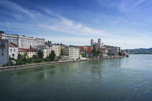 Passau, Inn, River, Bavaria, City, Dom, Germany